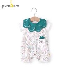 Pureborn Newborn Unisex Baby Romper Summer Breathable Cotton Baby