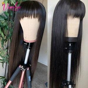 Vanlov Brazilian Straight Human Hair Wigs With Bangs Full Machine Made Wigs 150% Remy Human Hair Wigs For Black Women Glueless