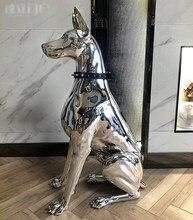 78cm luxo chapeamento doberman estátua decoração da casa sala de estar escultura grande ornamento resina artesanato abstrato estatueta animal