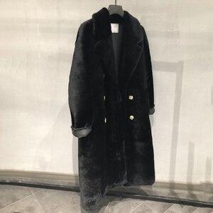 Image 4 - Real fur coat women plus size 2019 fashion leopard print genuine Merino sheepskin leather jacket double breasted long coat femal