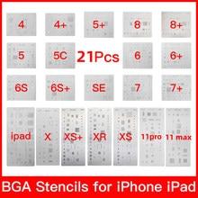 Alta qualidade conjunto completo ic chip bga reballing estêncil dedicar kits para iphone xs max xr 8p 7 6 s 6 se 5S 5c 5 4S ipad