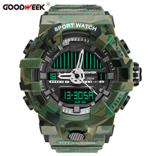 GOODWEEK Waterproof Man Sport Watch Led Digital Multi-functional Military Quartz Watches Dual Display Relogios Masculino