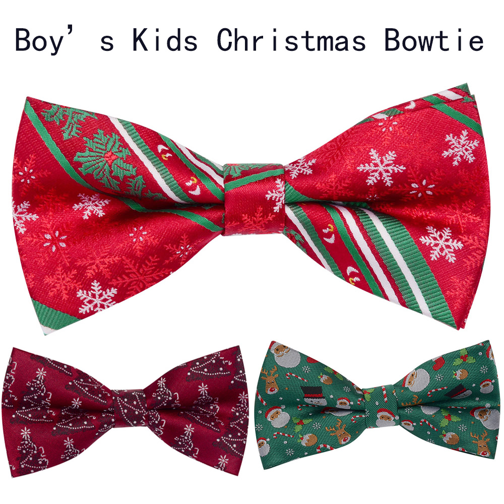 Ricnais Silk Boys Kids Christmas Bow Tie Snowflake Santa Claus Jucquard Bowtie Suit Pet Christmas Festival Party Gifts Red Green