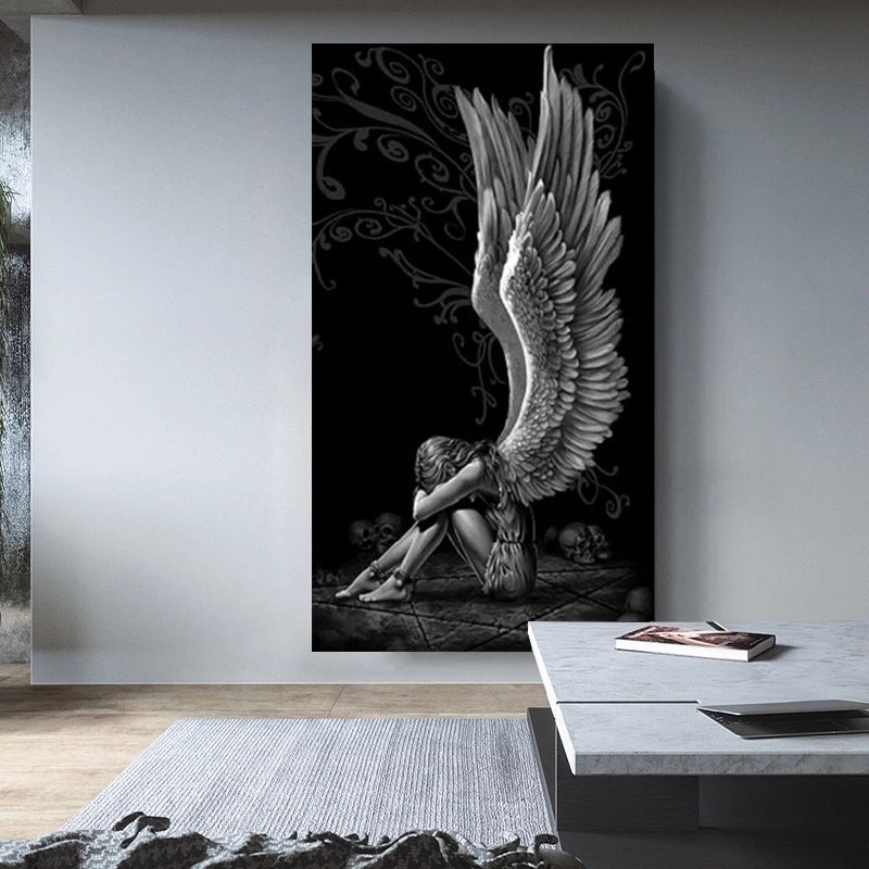 Şeytan ve melek boyama gri karakter kanatları kafatası posterler ve baskılar tuval üzerine ev dekor boyama oturma odası posteri boyama
