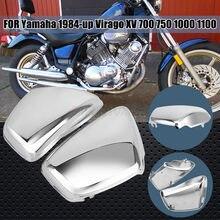 Chrome moto esquerda direita lado da bateria carenagem capa para yamaha xv700 750 1000 1100 virago 1984-up acessórios da motocicleta