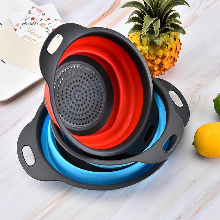 Faltbares Silikonsieb Obstgemüse Waschkorb Sieb Küche Neu
