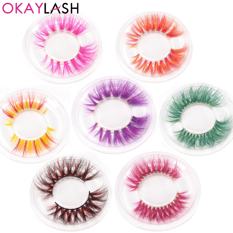 OKAYLASH 3D 6D False Colored Eyelashes Natural Real Mink Fluffy Style  Eye Lash Extension Makeup Cosplay Colorful Eyelash