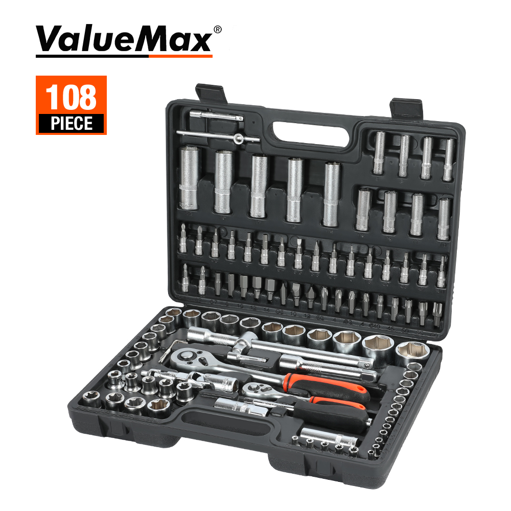 ValueMax 108PC Hand Tool Sets Car Repair Tool Kit Set Workshop Mechanical Tools Box for Home Socket Wrench Set Screwdriver Kit