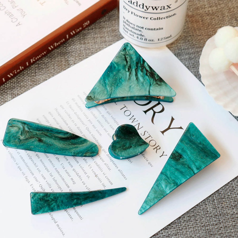 Retro Green Emerald Series Geometrical Triangle Hairpins Makeup Grasp Clip For Woman Hair Clip Hair Styling Tool Accessories