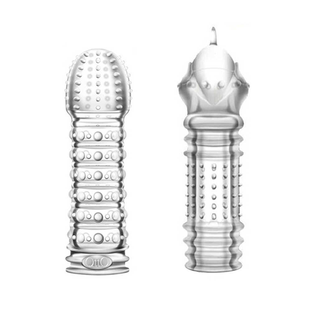 Penis Lengan Kondom Penis Extender Dapat Digunakan Kembali Silikon dengan Spike Dotted Kondom untuk Pria Penis Cincin Ayam Penutup Mainan Seks untuk pria