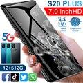 Горячая Распродажа S20Plus 5G пусть 6,7 дюймов Bluetooth4.0 12 Гб + 512 ГБ Android смартфонов отпечатков пальцев разблокированная MTK6889 10-ядерный мобильный тел...