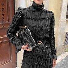 Maxi Dresses Turtleneck Lace SHENGPALAE Fashion Flare-Sleeve Slim Spring with Belt Female