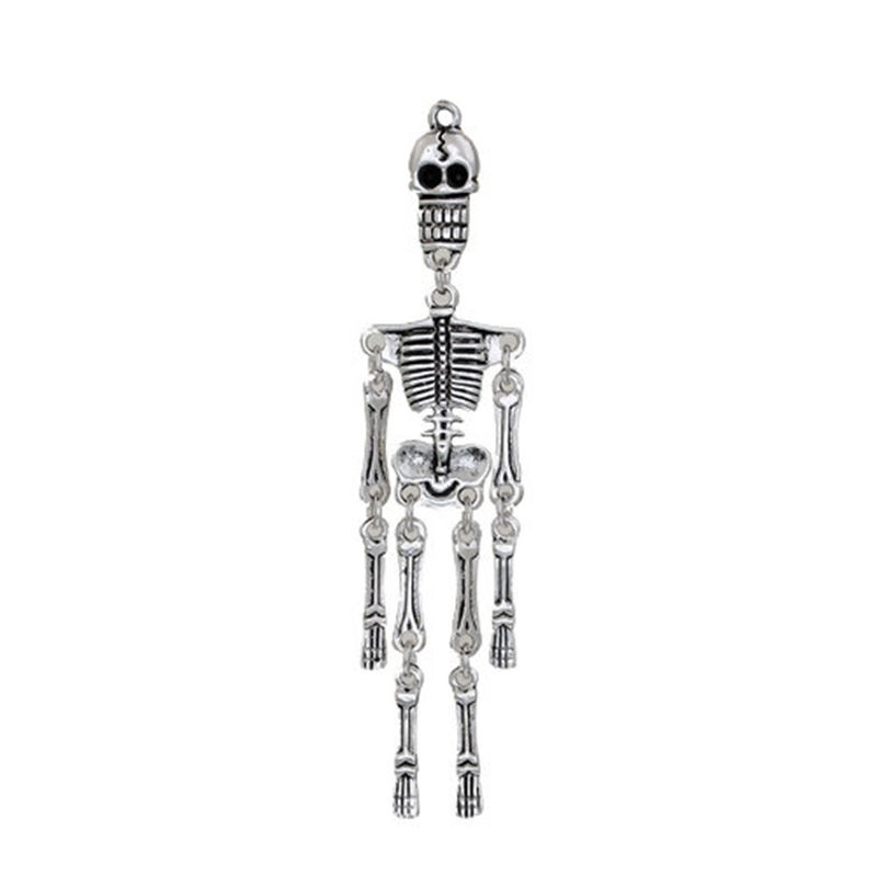 2 Antique Silver Tone Mermaid Skeleton Skull Charms Pendants 73x18mm