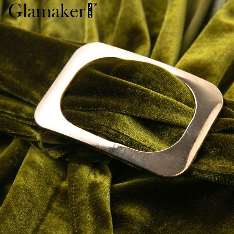Glamaker Green velvet deep v neck bodycon mini dress Long sleeve women sexy club dress Dresses Women's Clothing & Accessories