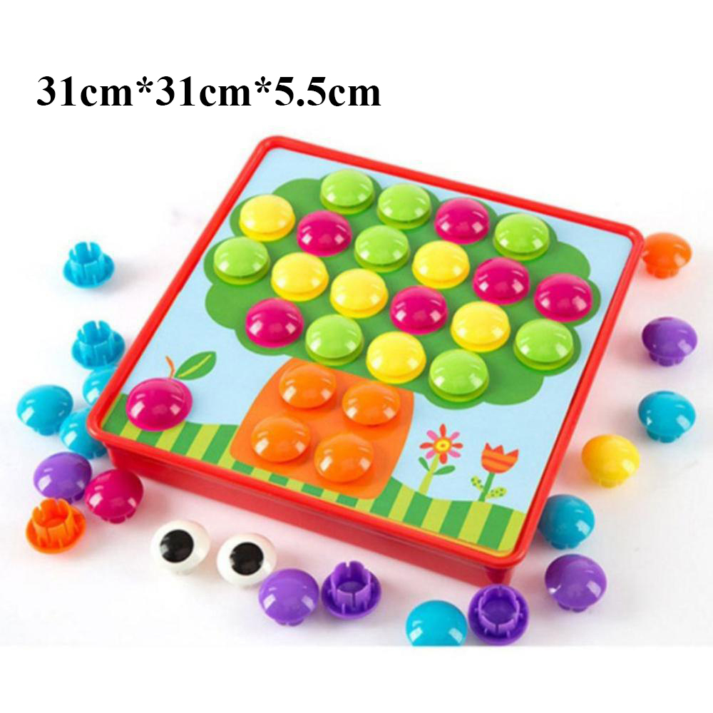12pcs/set Cartoon 3D Puzzle Toys Inserting Mushroom Nail Kit Kids Baby Educational Toys For Children 0-6 Y