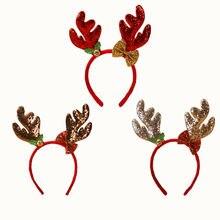 Горячие рождественские повязки на голову Необычные оленьи рога Hairband рождественские детские обручи для волос вечерние украшения Головные уборы Горячие аксессуары для волос подарок