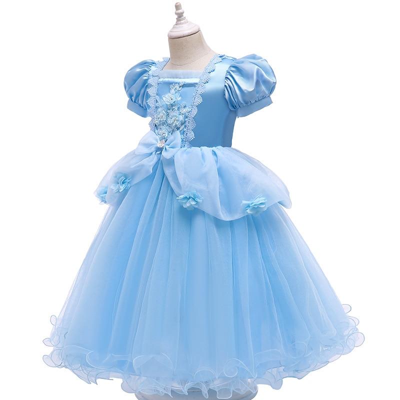 VOGUEON Luxury Cinderella Dress Girls Beading Applique Flower Princess Dresses Girl Lace Mesh Birthday Party Fancy Kids Costume 2