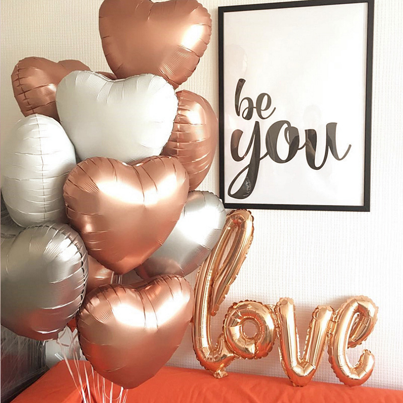 18 INCH Rose Gold Heart Foil Balloons Confetti Latex Birthday Baloons Birthday Party Decorations Kids Adult Wedding Ballons