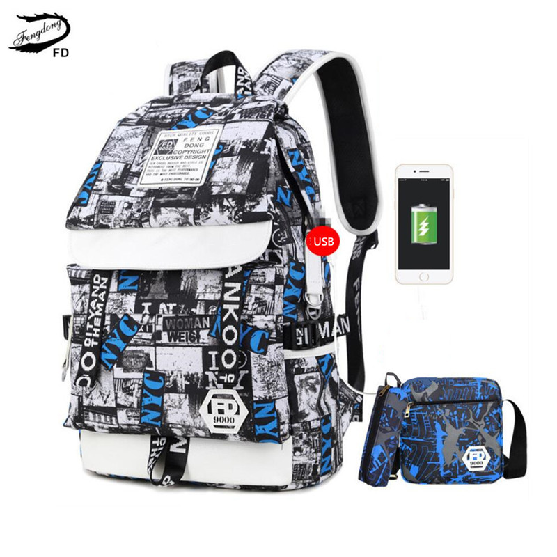 FengDong 3 Pcs Kids School Bag Set Waterproof School Backpack For Boy Schoolbag Backpack Student Pen Pencil Bag Boys School Bags