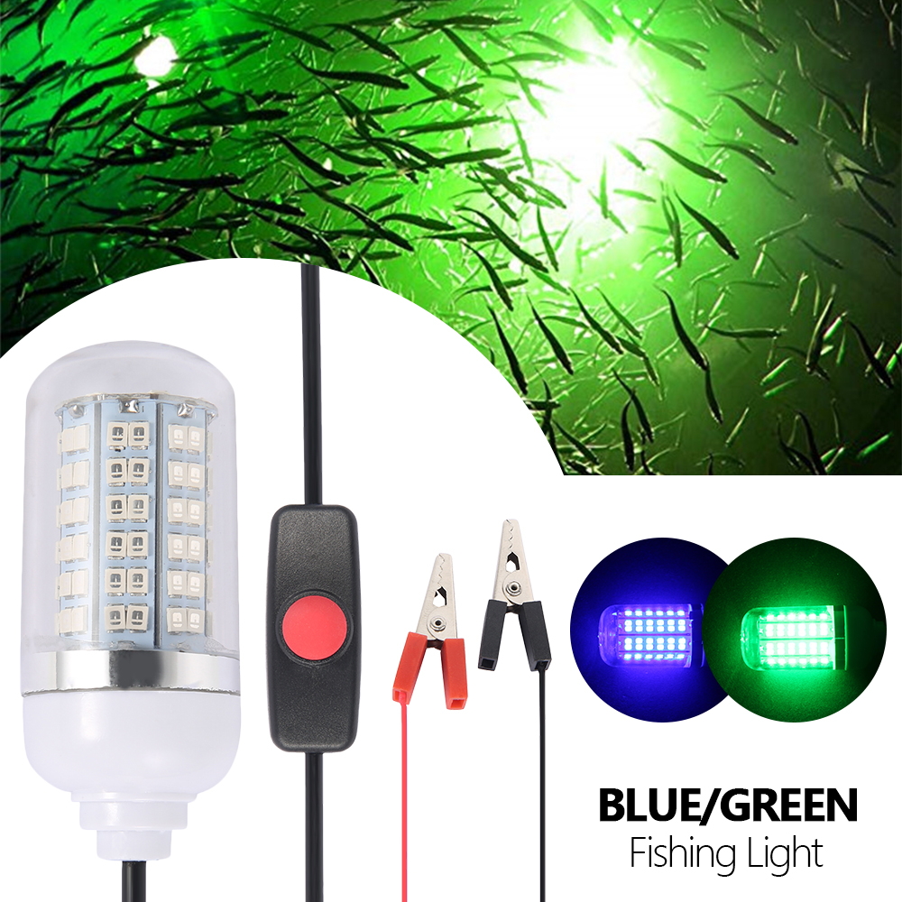 12V Fishing Light 108Pcs 2835 LED RGB Underwater Lights Lamp IP68 Waterproof Boat Fishing Lights Attracts Prawns Squid Krill