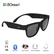 Bgreen condução óssea bluetooth, esporte inteligente fone de ouvido óculos de sol estéreo sem fio áudio esportes fone de ouvido