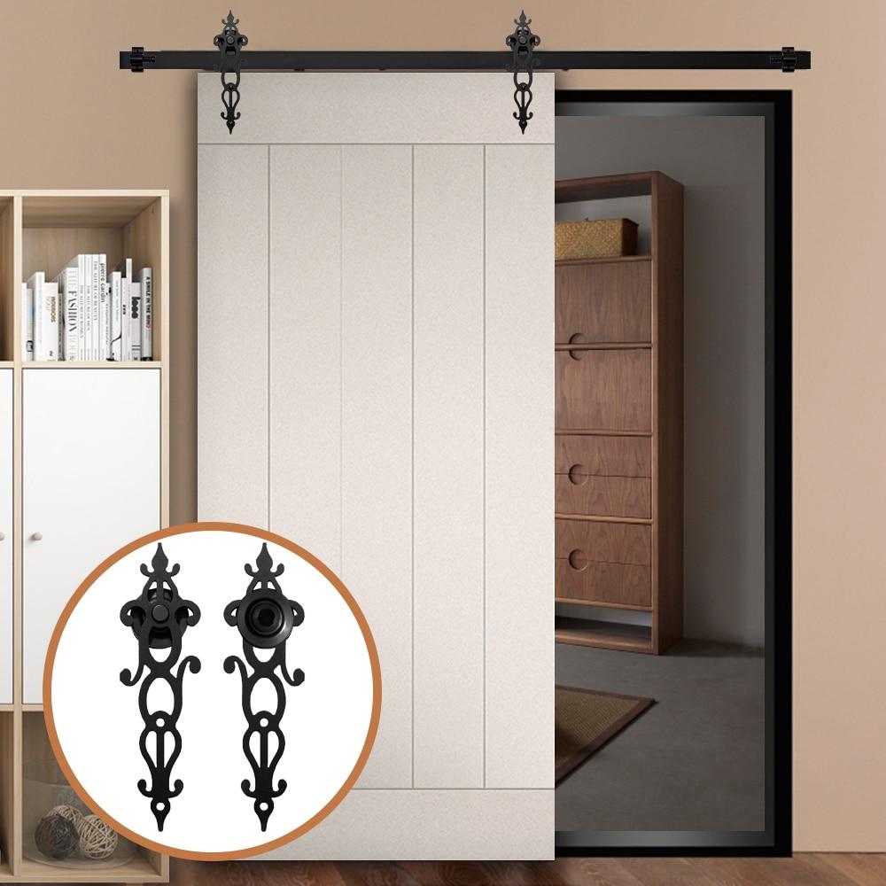 LWZH 4FT/5FT/6FT/6.6FT/7FT/8FT/9FT Sliding Wood Door Hardware Kit Carton Steel Rail Track Antique Style For Closet Sliding Door