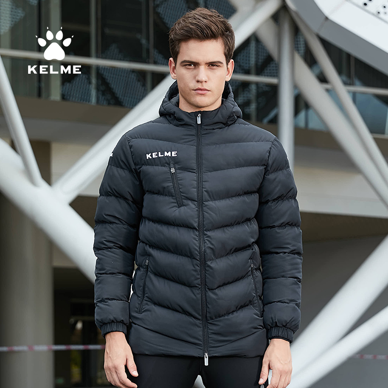 KELME Men Soccer Training Jacket Hooded Winter Keep Warm Coat Training Sport Running Football Jacket K15P010