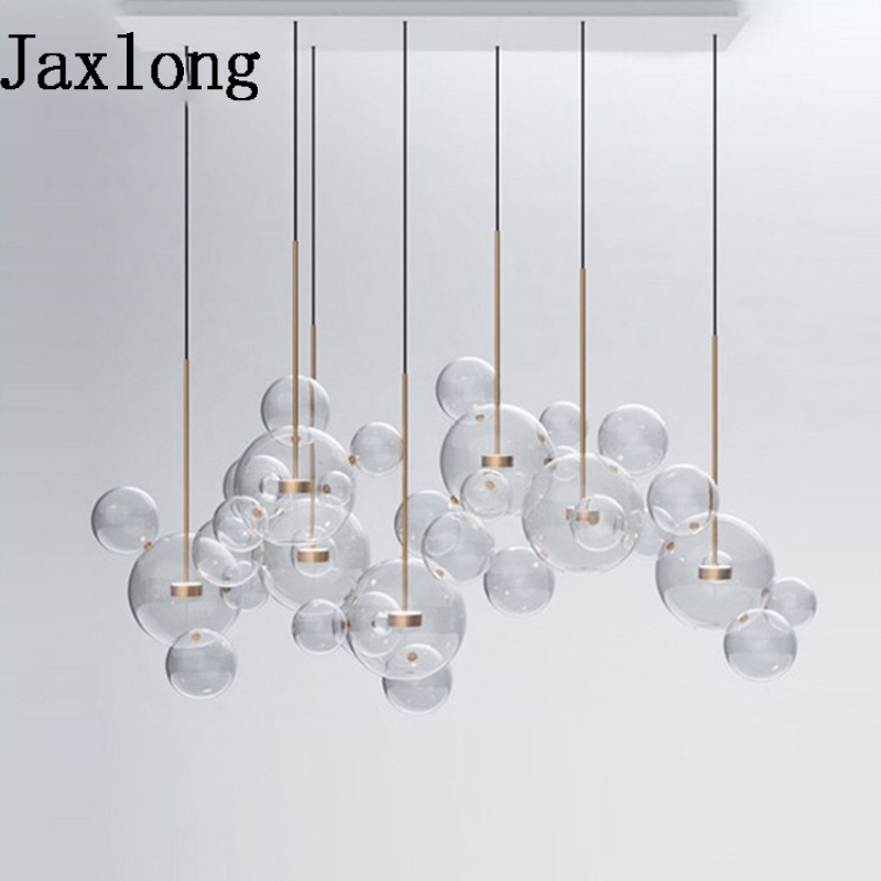 Nordic Glass Bubbles Designer Pendant Lights Restaurant Creative Pendant Lamp Modern Living Room Hotel Hanging Lights Fixture