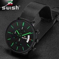 סוויש 2020 גברים שעון קוורץ גבר שעון ספורט עמיד למים יד שעוני יוקרה מותג גברים 3 צבעים נירוסטה שעוני יד Mens