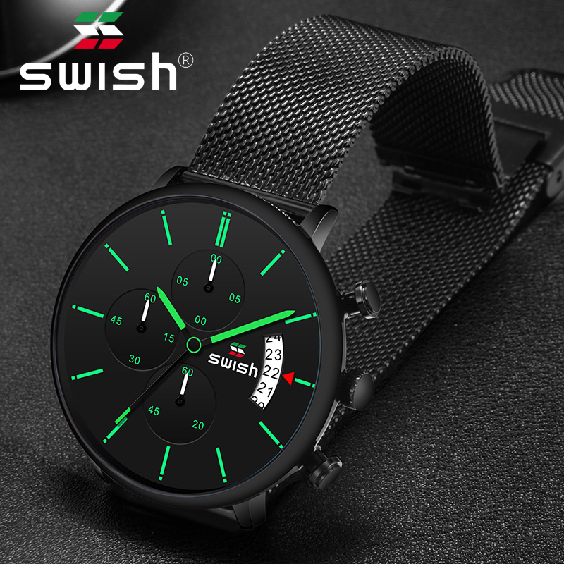 SWISH 2019 Men Watch Quartz Clock Man Sports Waterproof Wrist Watches Luxury Brand Men 3colors Stainless Steel Wristwatch Mens