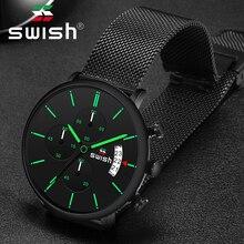 SWISHนาฬิกาผู้ชาย2020แฟชั่นแบรนด์หรูผู้ชายนาฬิกาข้อมือสแตนเลสChronographทหารนาฬิกาควอตซ์Reloj