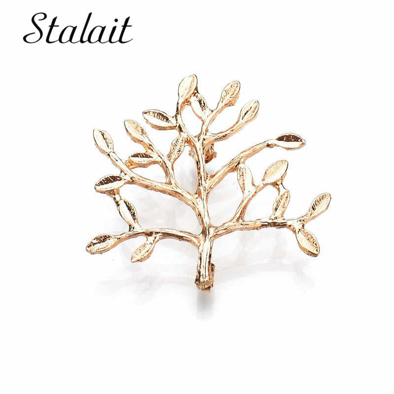 Women Bersinar Pohon Besar Emas Perak Daun Bros Pohon Natal Perhiasan Pohon Kehidupan Tanaman Bros Aksesoris Pakaian