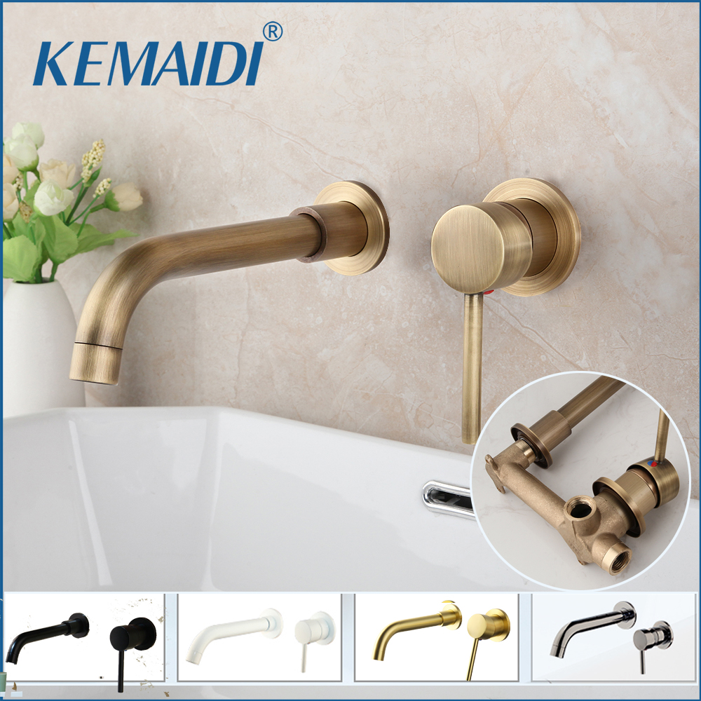 KEMAIDI Modern Brass Wall Mounted Bathroom Basin Faucet Wall Sink Swivel Spout Bath Mixer Tap Crane Antique Bronze Finished