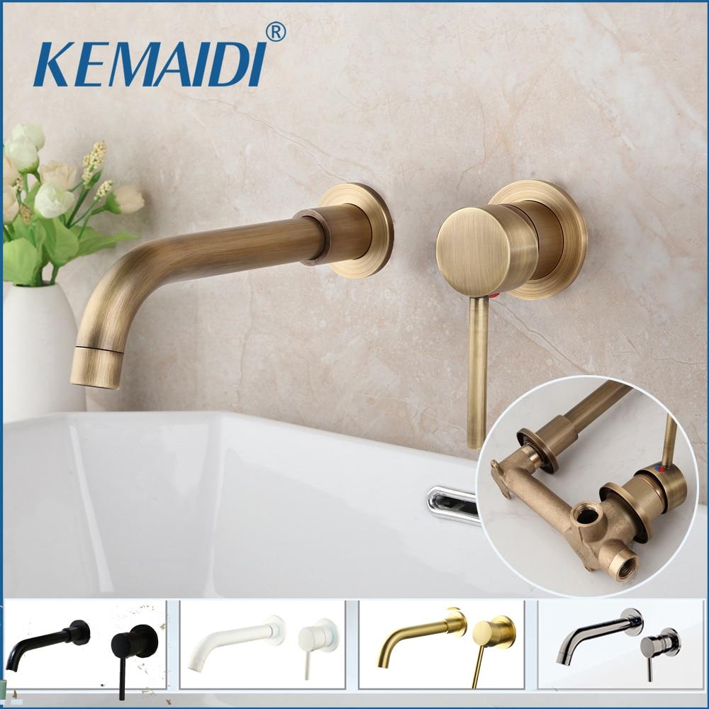 KEMAIDI Modern Brass Wall Mounted Bathroom Basin Faucet Wall Sink Swivel Spout Bath Mixer Tap Crane Antique Bronze Finished