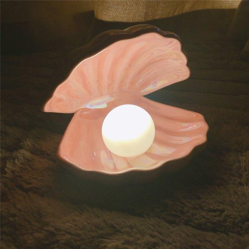 Ins, японский стиль, керамический жемчужный Ночной светильник в виде раковины, Русалочка, Сказочная ракушка, ночная лампа для прикроватного д