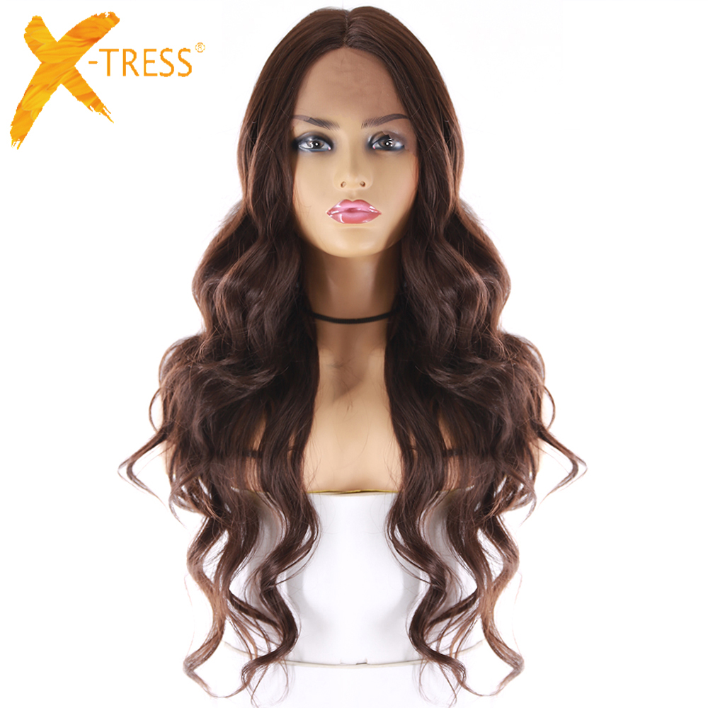X-TRESS Lace Wigs Synthetic-Hair Brown Middle-Part Heat-Resistant Wavy Medium Women 24inch