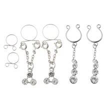 6Pcs Crystal Clip on Fake Nipple Rings N
