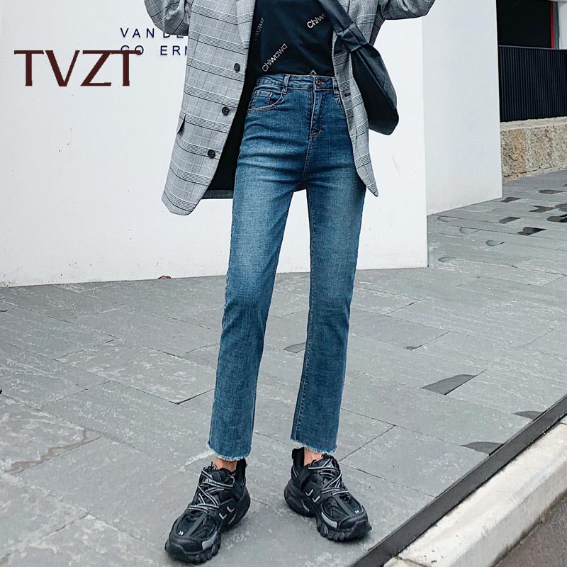 TVZT  2020 New Jeans Women Loose Straight Micro-Trumpet High Waist Waist Thin Black Nine Points Autumn And Winter Thicken