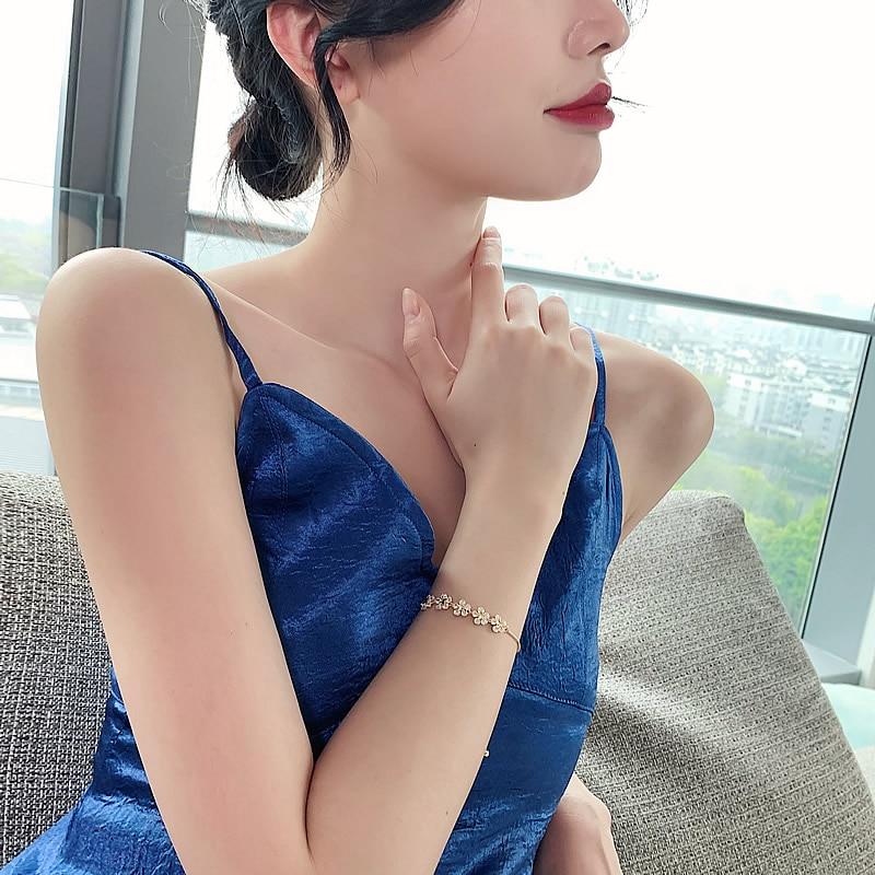 2020 nuovo design coreano gioielli di moda di fascia alta fiore di lusso zircone regolabile braccialetto femminile prom party 2