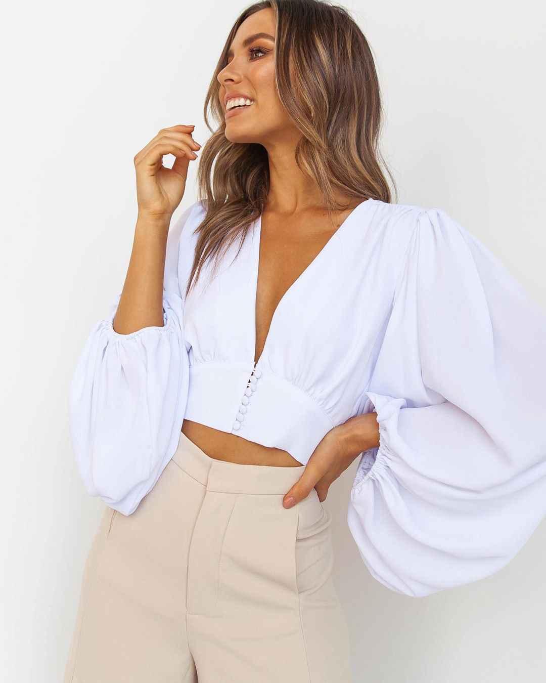 Women Ladies Deep V Neck Crop Top Long Sleeve Shirt Blouse Sweater T-shirt