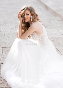 Image 3 - Свадебное платье из мягкого тюля с лямкой через шею 2020 кружевное платье с аппликацией бисером и поясом без рукавов длиной до пола турецкие свадебные платья