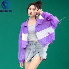 Женская Повседневная бейсбольная куртка Модный Фиолетовый лоскутный