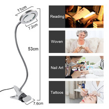 2 in 1 Clip Table Lamp Design USB Adjustable Cold White Desk Light for Eyebrow Tattoo Nail Art Beauty Makeup Fishing pandahall portable manicure nail table for nail station desk beauty salon equipment black white foldable nail desk