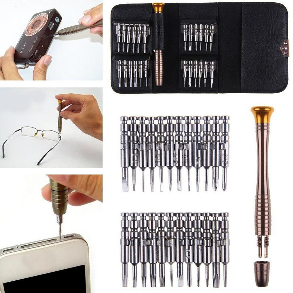 Leather Case 25 In 1 Torx Screwdriver Set Mobile Phone Repair Tool Kit Multitool Hand Tools For Iphone Watch Tablet PC 2019 New