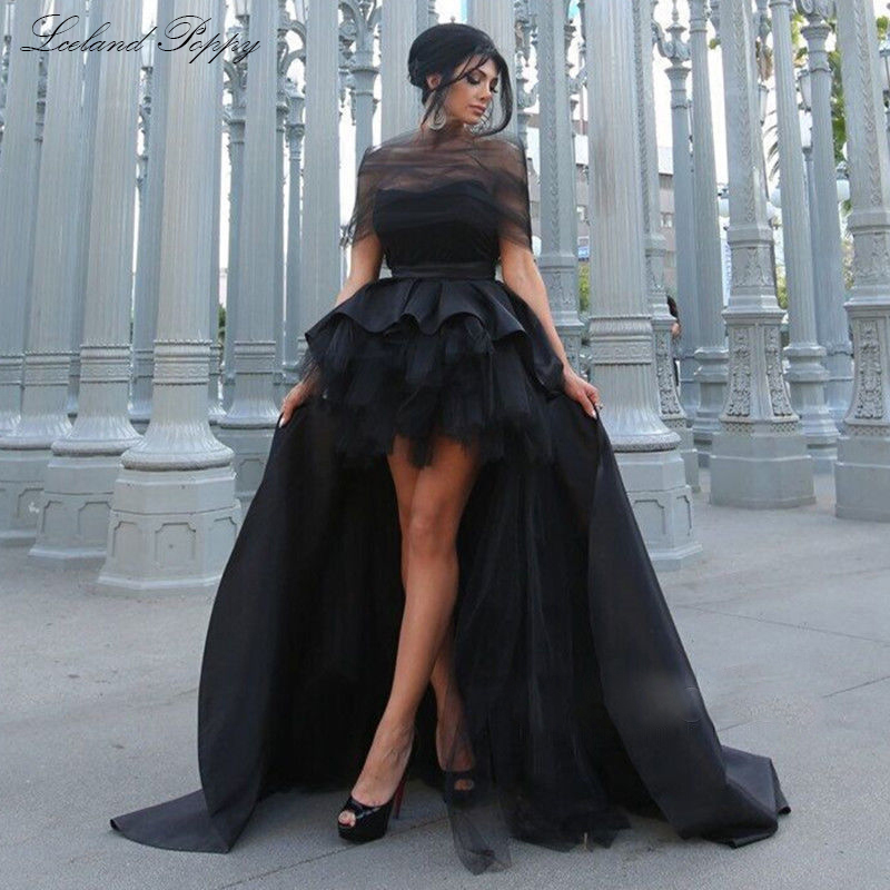 Women's A-line High Low Prom Dresses Off The Shoulder Satin Tiered Formal Evening Dresses Chapel Train