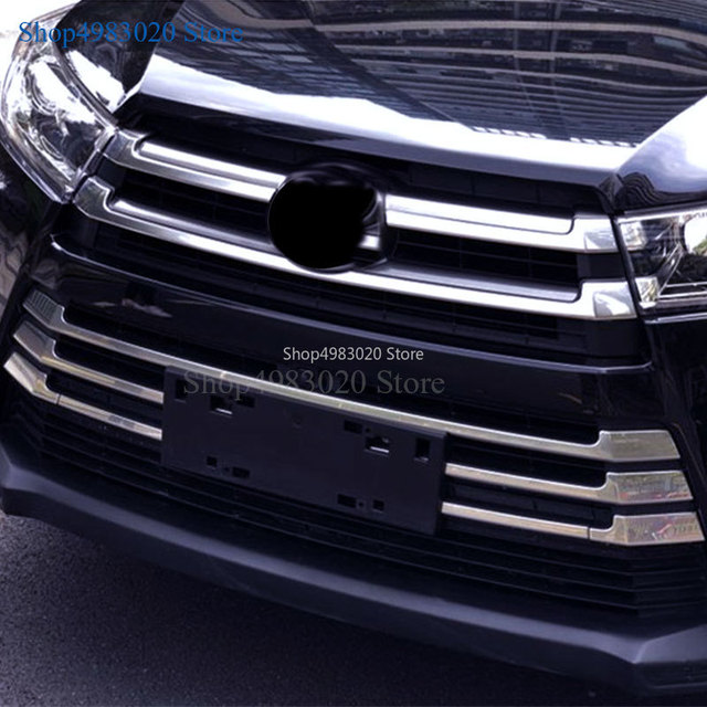 Car styling body cover ABS chrome racing engine trim Front bumper grid grill grille hoods part For Toyota Highlander 2018 2019 2