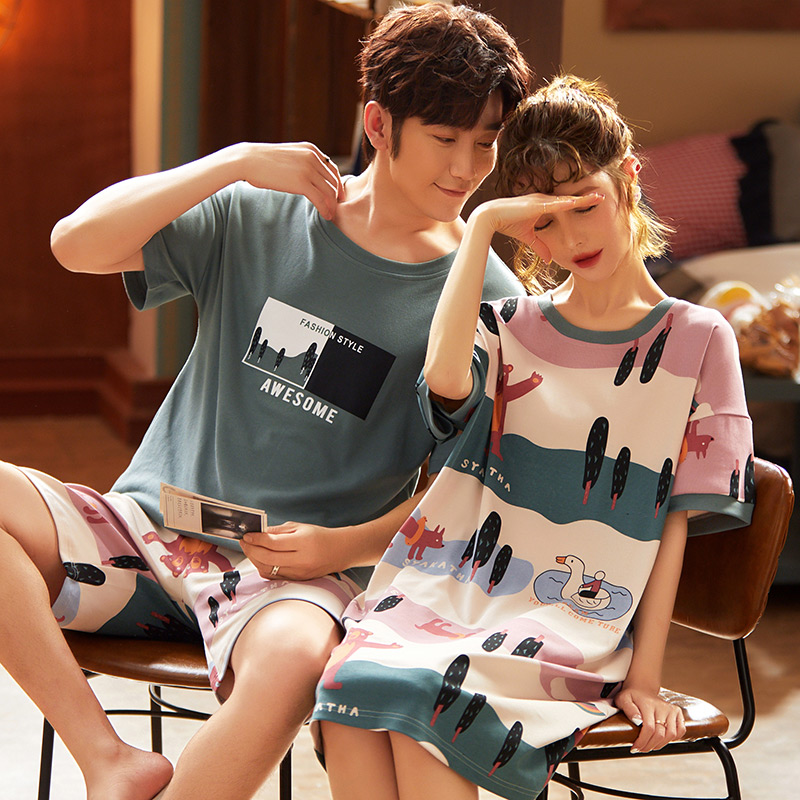 Best Selling Couple Pajamas Suit Summer Men And Women Short Sleeve Pajamas Comfortable Couple Pajamas Plus Size 3XL Home Service
