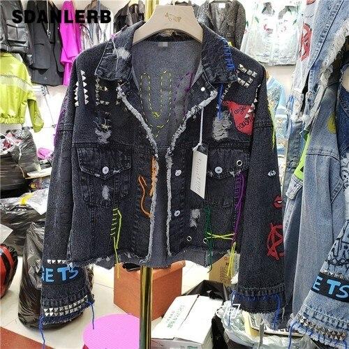 2019 Autumn New Graffiti Cowboy Coat Women Streetwear Rivet Pin Burr Hole Coat Short Black   Jacket   Girls Students   Basic     Jackets