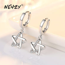 NEHZY 925 pendientes de plata esterlina de joyería de calidad mujer nueva moda de circón de cristal Retro hueco estrellas Gran oferta pendientes