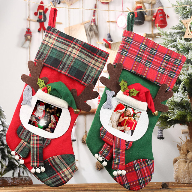 Christmas Stockings Socks Santa Claus Plaid Big Hanging candy Gift Bag Party Supplies Decoration For Home Pendant Gifts Wholesa 1